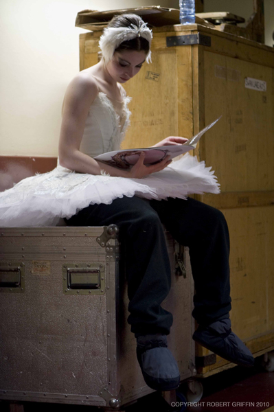 dancer in Swan Lake tutu backstage