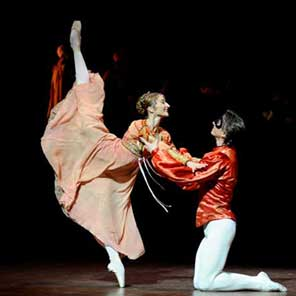 Two dancers perform
