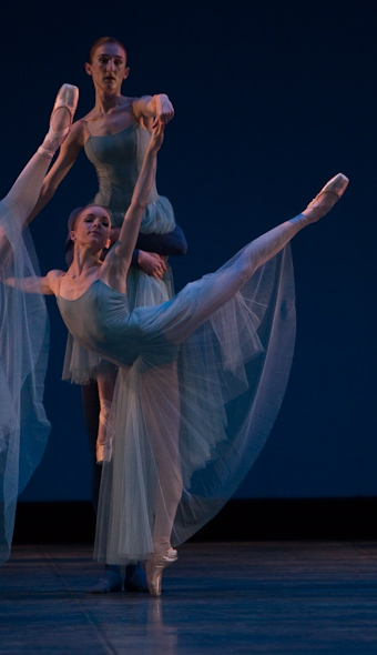 ballet dancer on stage in George Balanchine's Serenade