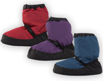 Bloch warm up boots in purple blue and red
