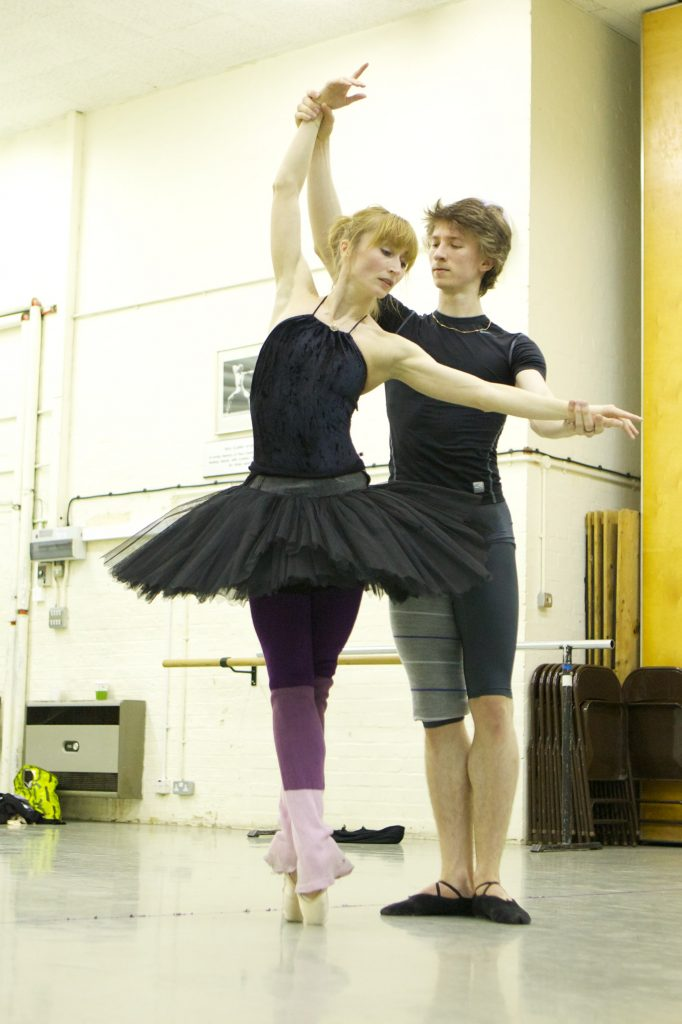 two dancers rehearse Swan Lake
