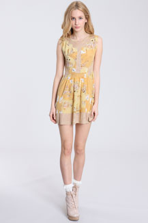 dress with ballerina pattern in yellow