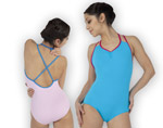 dancers in pink and blue leotard with cross over back