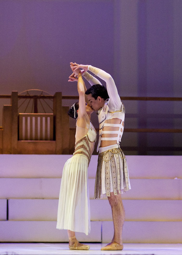 two ballet dancers embrace