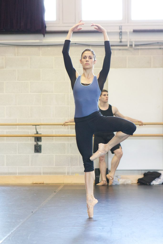 dancer stands on pointe