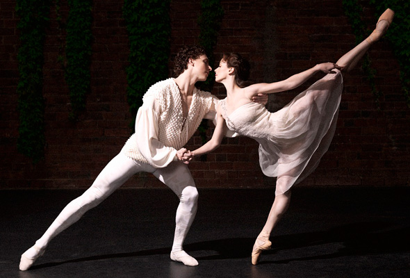 two ballet dancers on stage