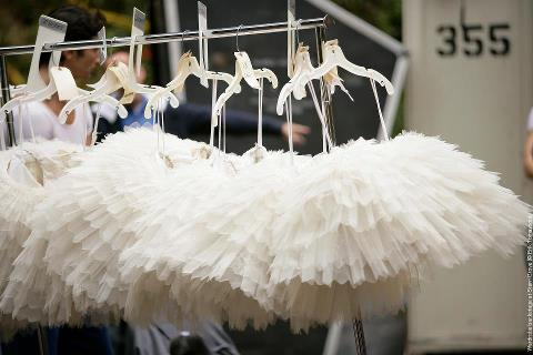 row of white tutus