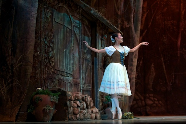 ballet dancer on stage as Giselle