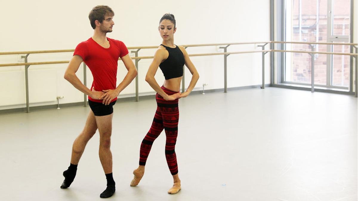 two ballet dancers in ballet studio