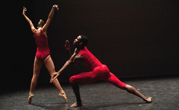 ballet dancers dressed in red