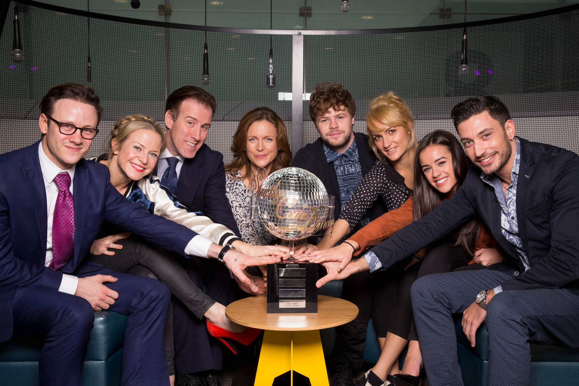 The final four couples with the Strictly trophy Kevin Clifton, Kellie Bright, Anton Du Beke, Katie Derham, Jay McGuiness, Aliona Vilani, Georgia May Foote, Giovanni Pernice