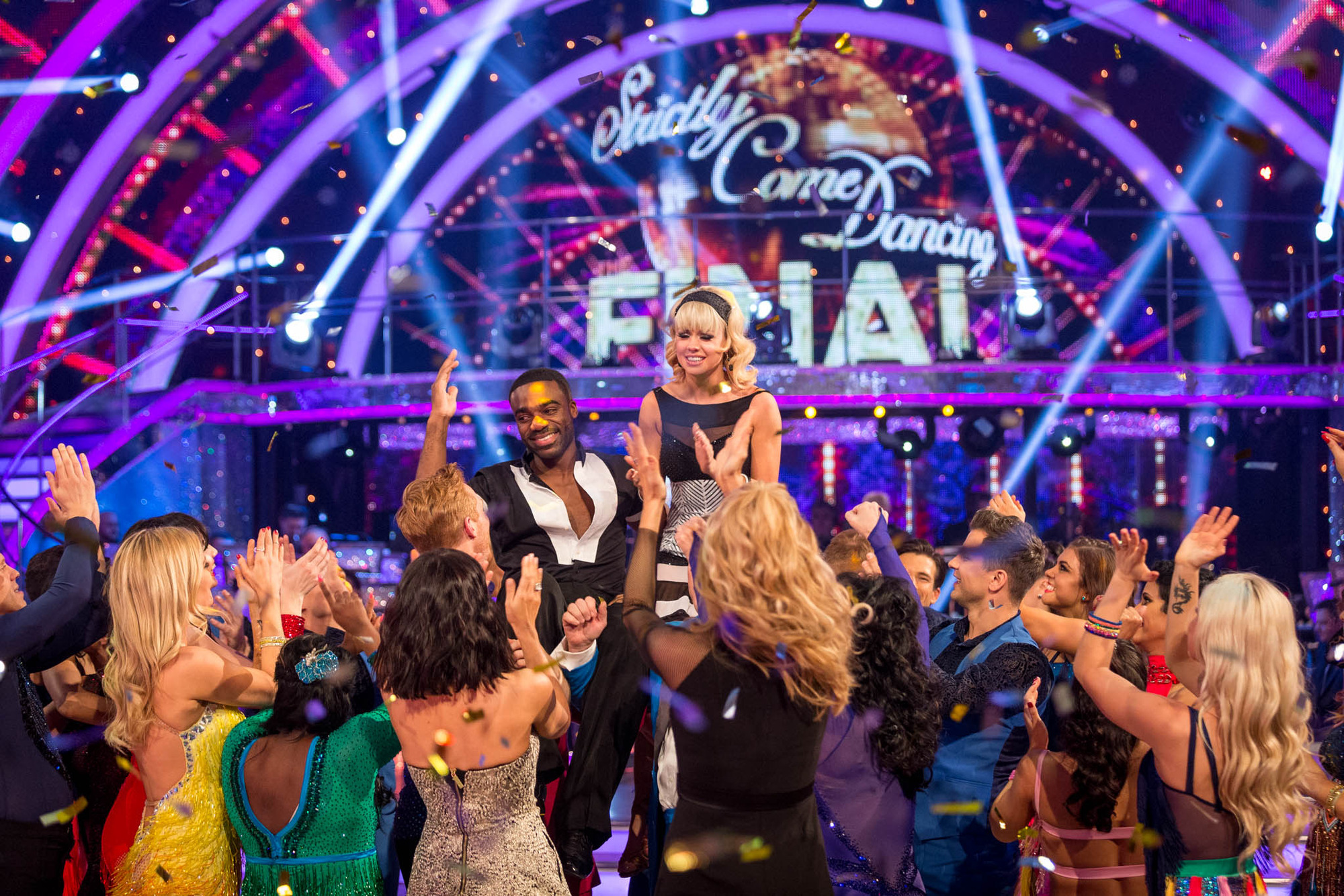Ore and Joanne celebrate winning Ore Oduba, Joanne Clifton - (C) BBC - Photographer: Guy Levy