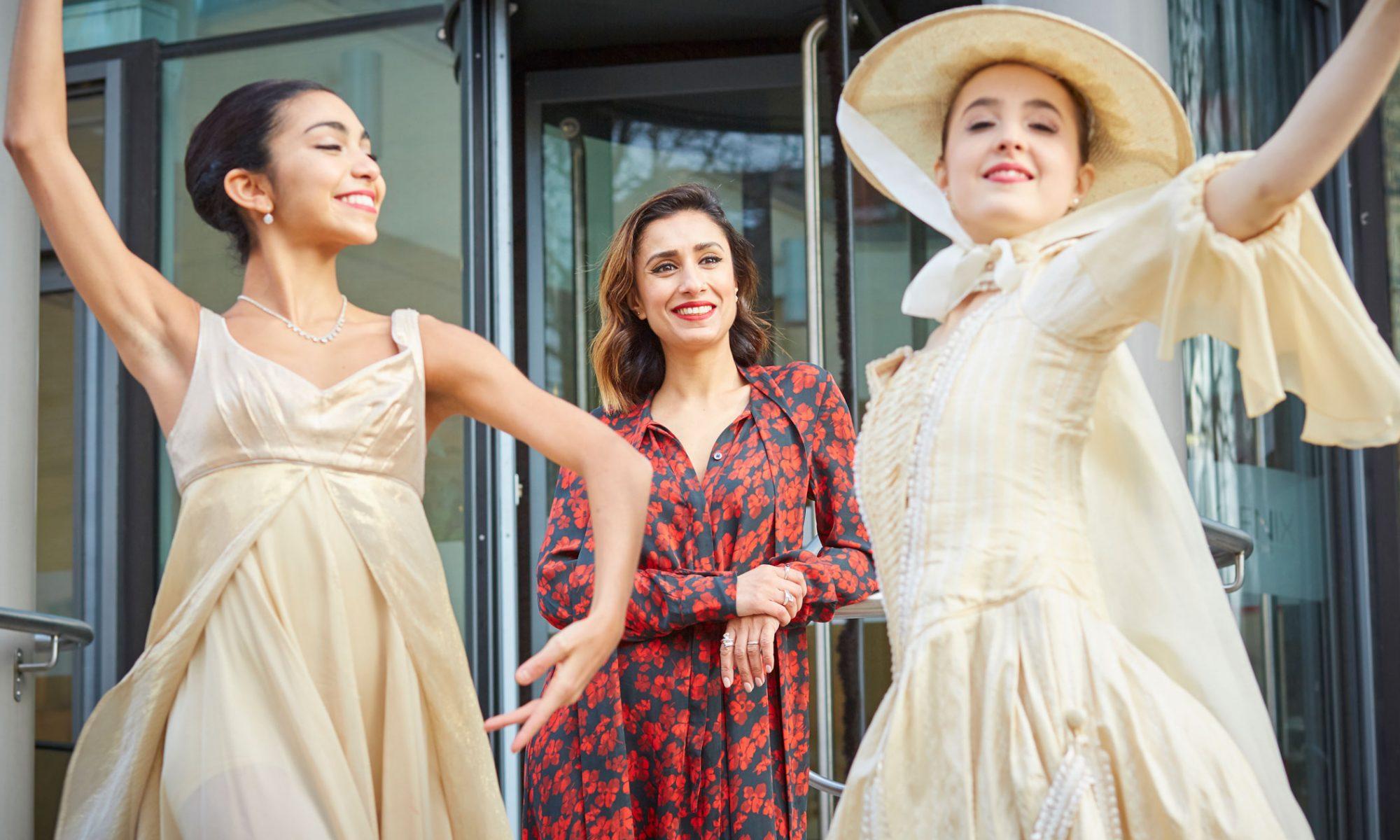 Anita Rani with Northern Ballet dancer Natalia Kerner and Kiara Flavin at Northern Ballet's Leeds HQ. Photo Justin Slee